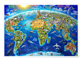 Poster  World Landmarks Globe - Adrian Chesterman