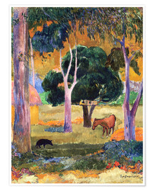 Poster Premium Landscape with a Pig and a Horse (Hiva Oa)