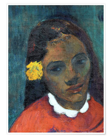 Poster Premium Head of a Tahitian woman listening Flower