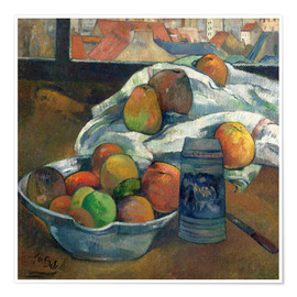 Poster Premium bowl of fruit and tankard before a window