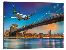 Stampa su alluminio  Aircraft flying over Brooklyn Bridge in New York