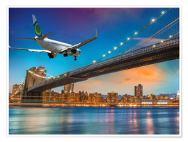 Poster Premium Aircraft flying over Brooklyn Bridge in New York