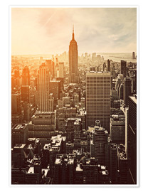 Poster Premium  Tramonto a Manhattan, New York