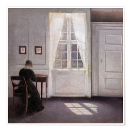 Poster Premium  Interior with sunlight on the floor - Vilhelm Hammershøi
