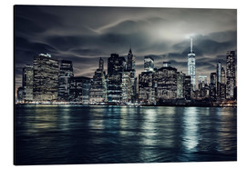 Alluminio Dibond  Manhattan at night, New York City