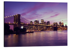 Alluminio Dibond  Brooklyn Bridge and Manhattan at purple sunset