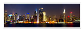 Poster Premium Manhattan skyline with Times Square at night