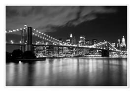 Poster Premium  Brooklyn Bridge - Night scene