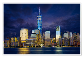 Poster Premium Manhattan skyline at night