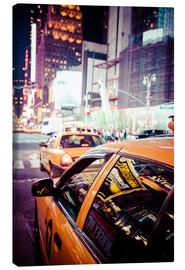 Stampa su tela  Yellow Cabs and city lights