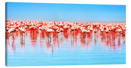 Stampa su tela  Flamingo in the lake Nakuru