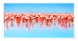 Poster Premium  Flamingo in the lake Nakuru