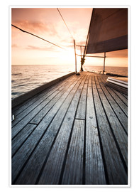 Poster Premium  Sailboat in the open sea