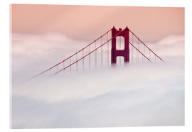 Stampa su vetro acrilico  Golden Gate Bridge in the clouds