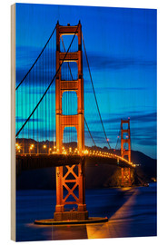 Stampa su legno  Golden Gate Bridge at sunset, San Francisco