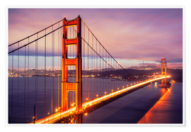 Poster Premium  Il Golden Gate Bridge di notte, San Francisco