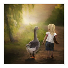 Poster Premium Little girl with goose