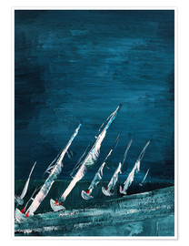 Poster Premium Sailboats, abstract