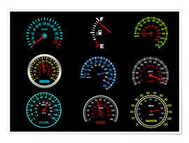 Poster Premium  Speedometers for mph Fans