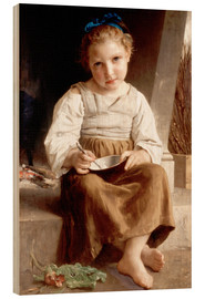 Stampa su legno  The slurry, little girl eating his soup - William Adolphe Bouguereau