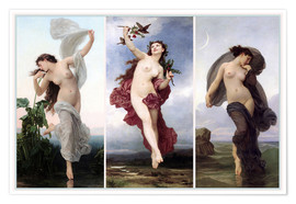 Poster Premium  The times of day (Triptych) - William Adolphe Bouguereau