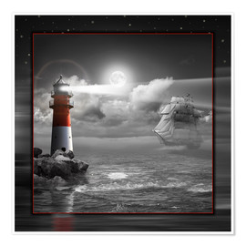 Poster Premium Lighthouse and Sailboat in the Moonlight