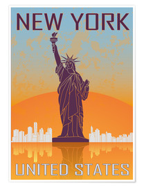 Poster Premium  New York - Statue of Liberty