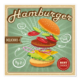 Poster Premium  Delicious Hamburger