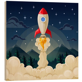 Stampa su legno  Rocket take-off - Kidz Collection