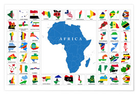 Poster Premium  African Countries with Flags