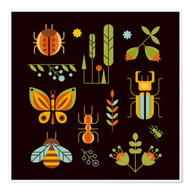 Poster Premium  Retro Insects