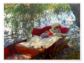 Poster Premium A Lady and a Little Boy Asleep in a Punt under the Willows