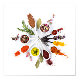 Poster Premium  Spices and herbs clock