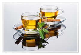 Poster Premium  Tea cup with fresh mint leaves