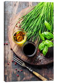 Stampa su tela  Herbs and spices on wooden board