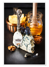 Poster Premium  Delicious blue cheese with honey