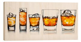 Stampa su legno  alcoholic drinks with natural ice