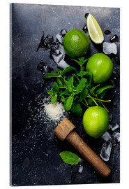 Stampa su vetro acrilico  Mojitos (ice cubes, mint, sugar and lime)