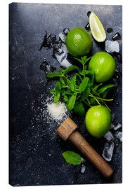 Stampa su tela  Mojitos (ice cubes, mint, sugar and lime)