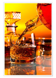 Poster Premium  glass with whiskey and ice