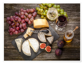 Poster Wine and cheese still life