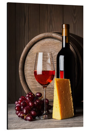 Alluminio Dibond  Red wine with cheese and grapes