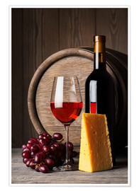 Poster Premium  Red wine with cheese and grapes