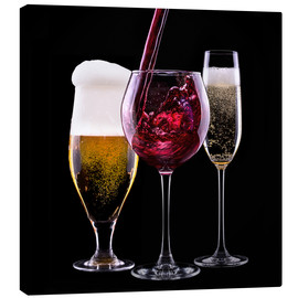 Stampa su tela  drinks - beer, wine and champagne