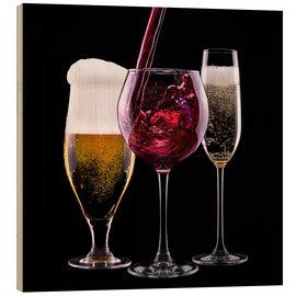 Stampa su legno  drinks - beer, wine and champagne