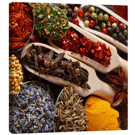 Stampa su tela  Colorful spices and herbs