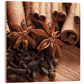 Stampa su legno  Cinnamon on wood
