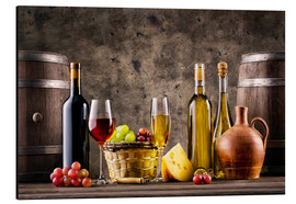 Alluminio Dibond  wine, grapes, barrels and cheese