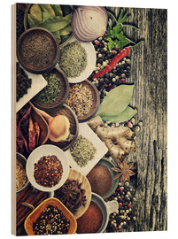 Stampa su legno  Spices And Herbs On Rusty Old Wood
