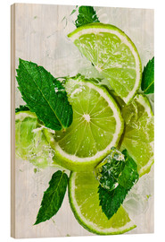 Stampa su legno  lime slices with ice and peppermint leaves